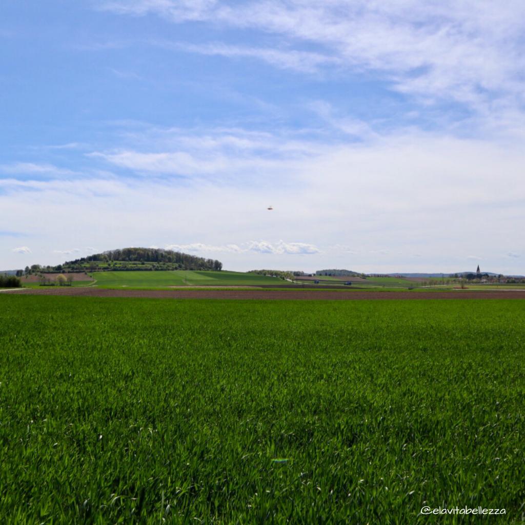La piana del cratere del Ries tra Nördlingen e Wemding